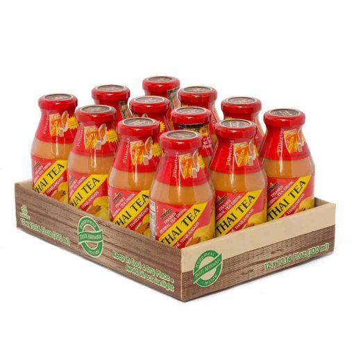 A case of Premium Thai Tea 9.5 oz glass bottles.