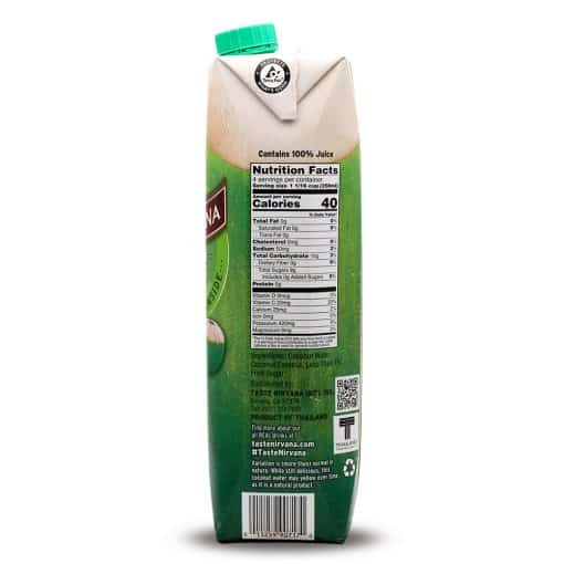 Nutrition Facts of Coconut Water Tetra Pak